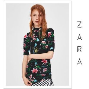 Zara Printed Shirt With Gathered Details - NWT